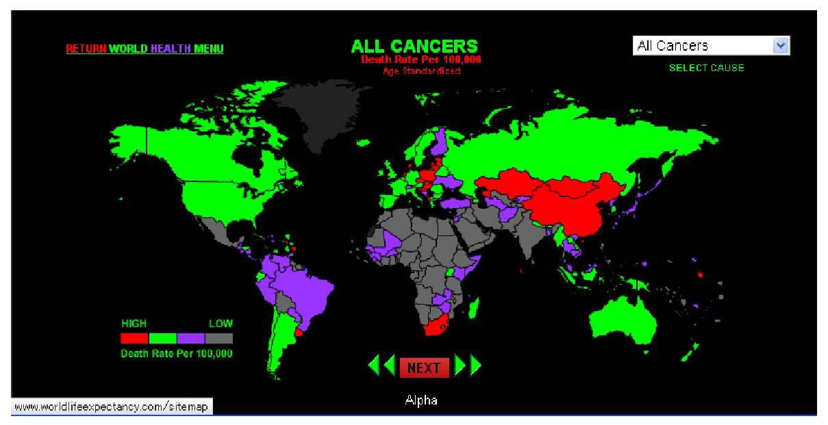 癌死亡率国別map